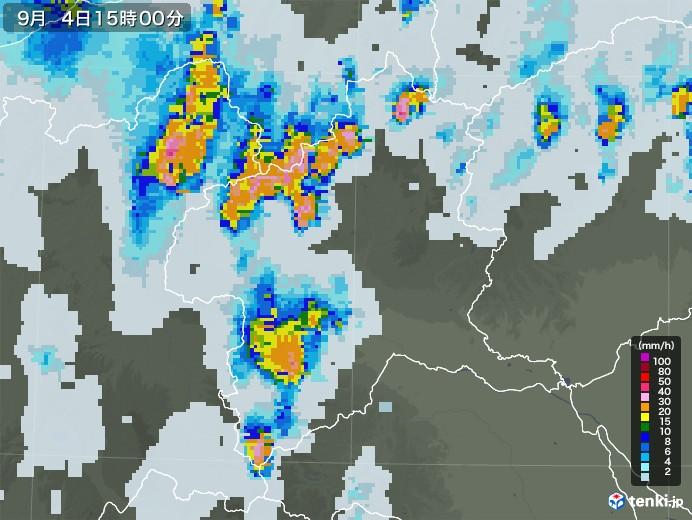 群馬県の雨雲レーダー(2020年09月04日)
