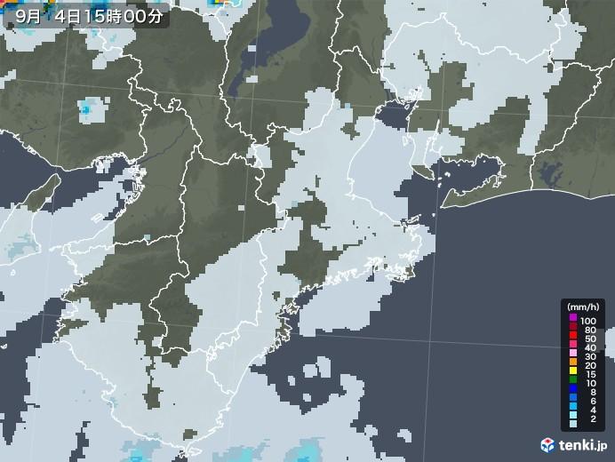 三重県の雨雲レーダー(2020年09月04日)