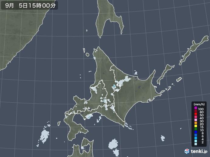 北海道地方の雨雲レーダー(2020年09月05日)