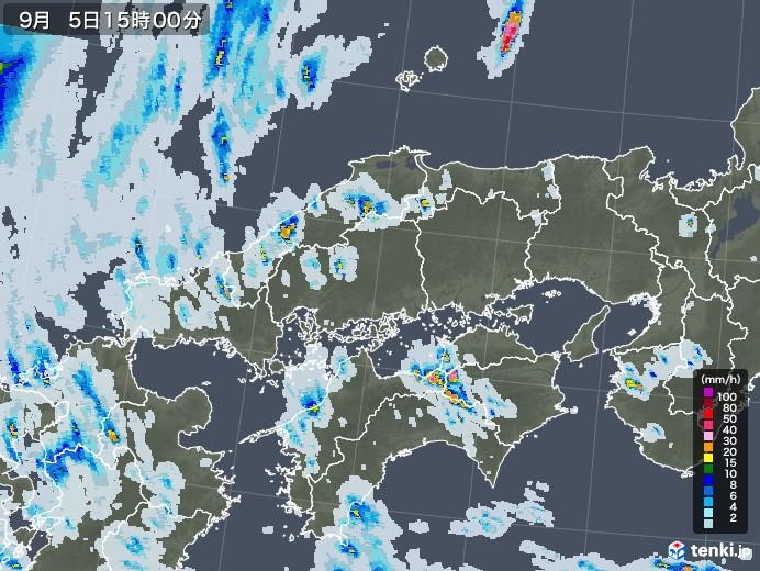 中国地方の雨雲レーダー(2020年09月05日)