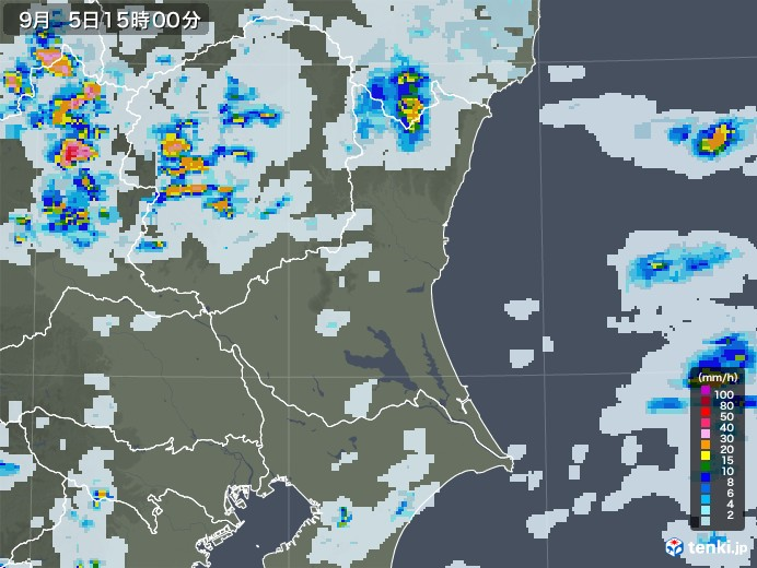 茨城県の雨雲レーダー(2020年09月05日)