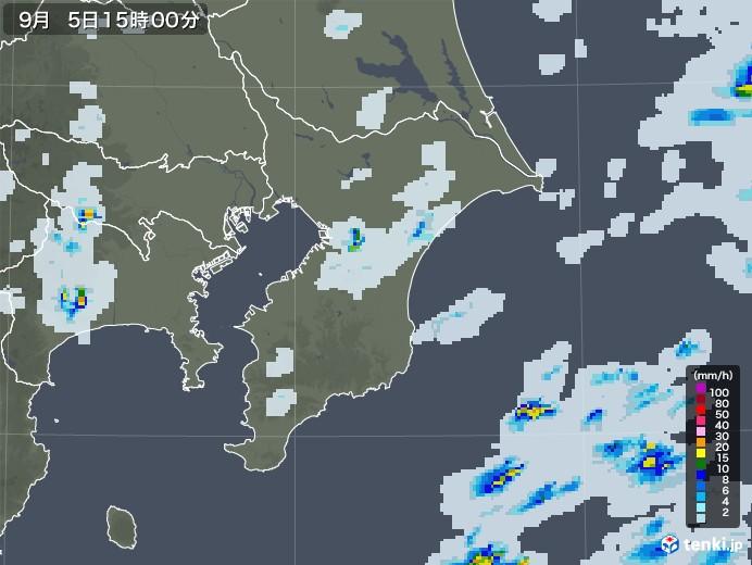 千葉県の雨雲レーダー(2020年09月05日)
