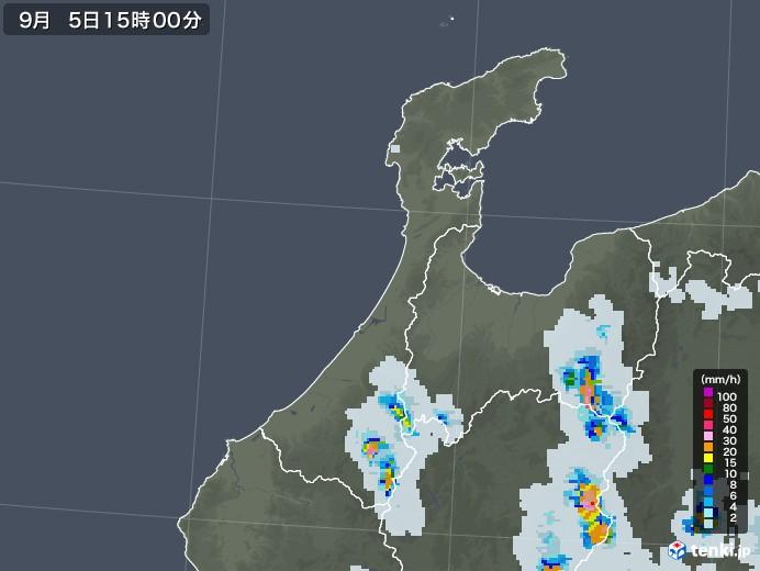 石川県の雨雲レーダー(2020年09月05日)