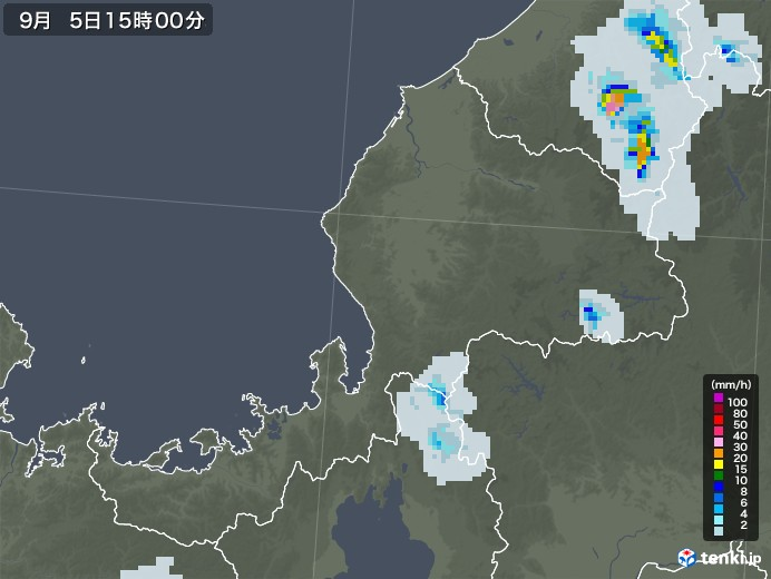 福井県の雨雲レーダー(2020年09月05日)