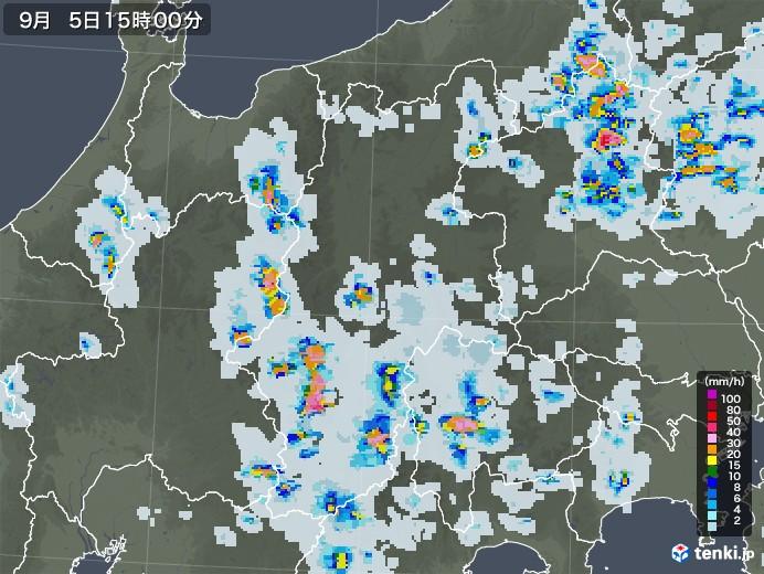 長野県の雨雲レーダー(2020年09月05日)