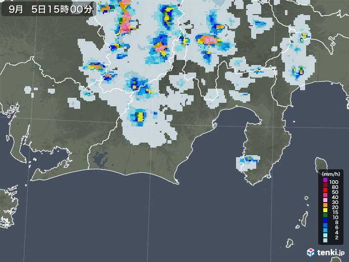 静岡県の雨雲レーダー(2020年09月05日)