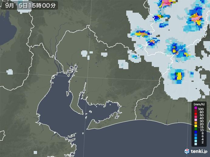 愛知県の雨雲レーダー(2020年09月05日)