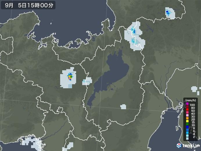 滋賀県の雨雲レーダー(2020年09月05日)