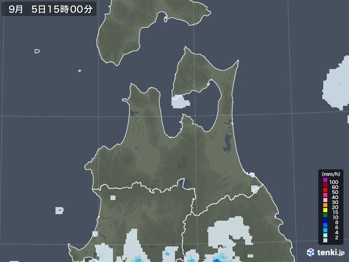 青森県の雨雲レーダー(2020年09月05日)