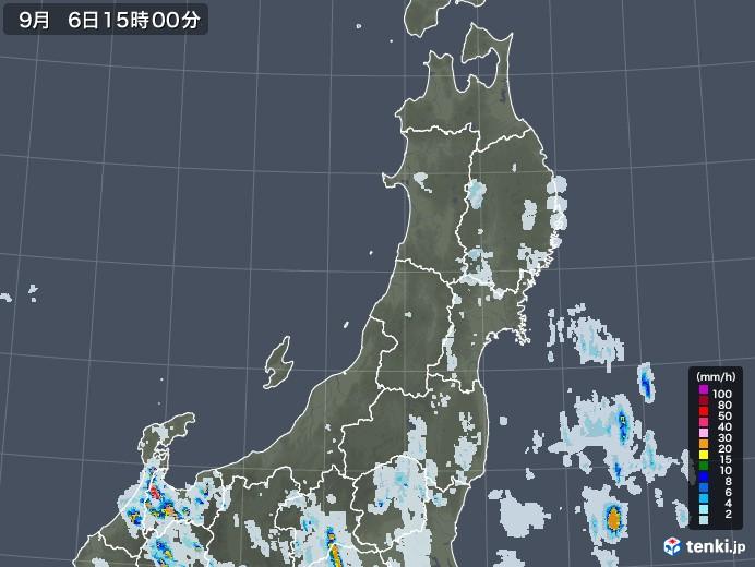 東北地方の雨雲レーダー(2020年09月06日)