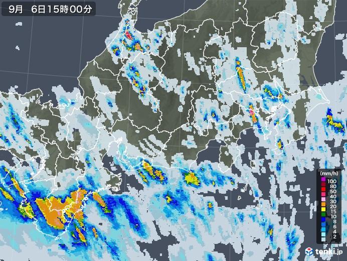 東海地方の雨雲レーダー(2020年09月06日)