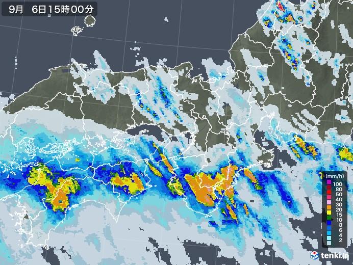 近畿地方の雨雲レーダー(2020年09月06日)