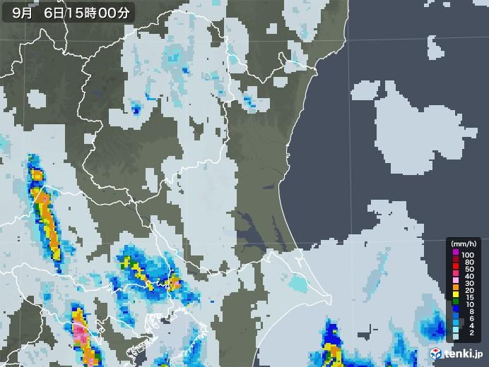茨城県の雨雲レーダー(2020年09月06日)