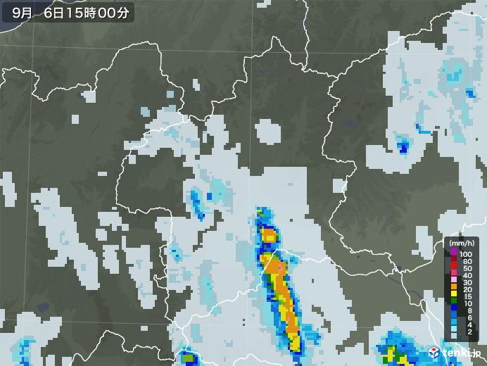 群馬県の雨雲レーダー(2020年09月06日)