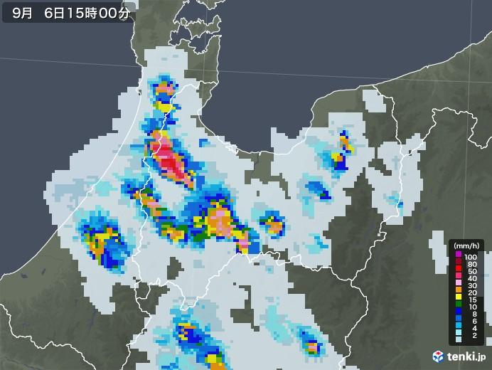 富山県の雨雲レーダー(2020年09月06日)