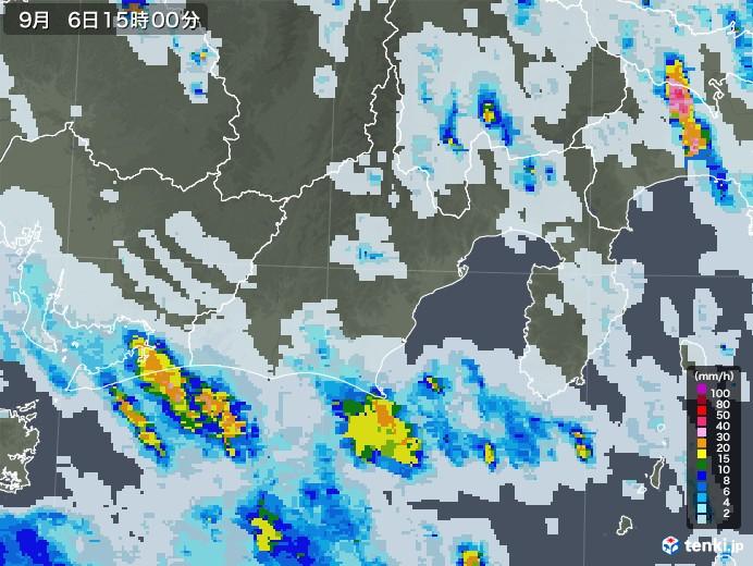 静岡県の雨雲レーダー(2020年09月06日)