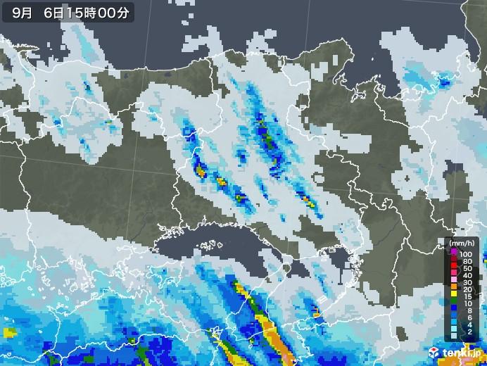 兵庫県の雨雲レーダー(2020年09月06日)
