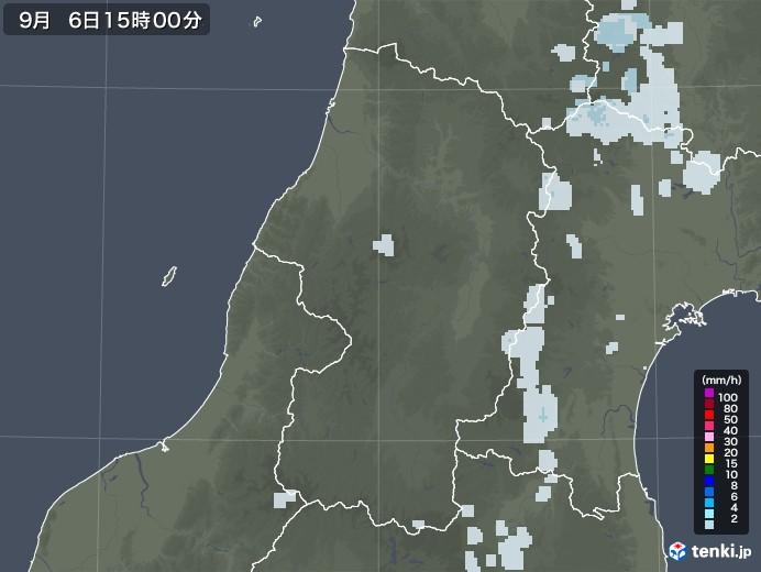 山形県の雨雲レーダー(2020年09月06日)