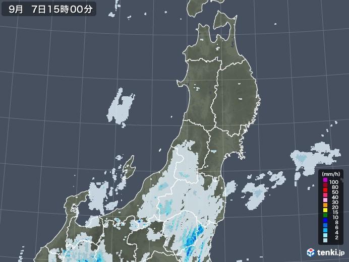 東北地方の雨雲レーダー(2020年09月07日)
