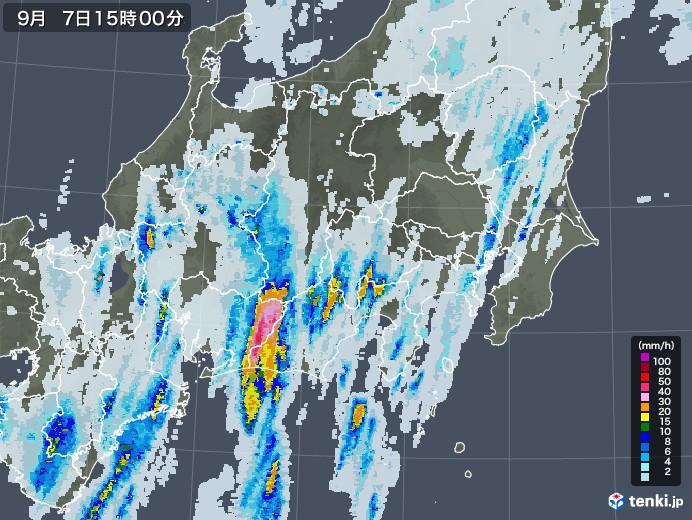 関東・甲信地方の雨雲レーダー(2020年09月07日)