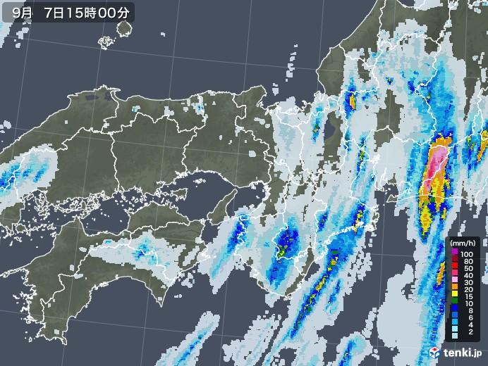 近畿地方の雨雲レーダー(2020年09月07日)