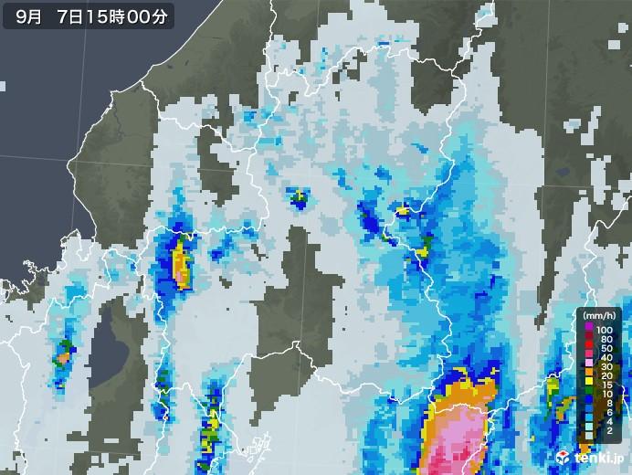 岐阜県の雨雲レーダー(2020年09月07日)