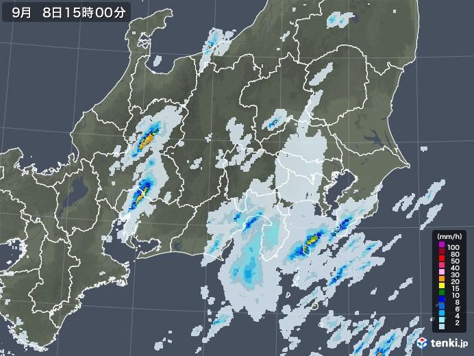 関東・甲信地方の雨雲レーダー(2020年09月08日)