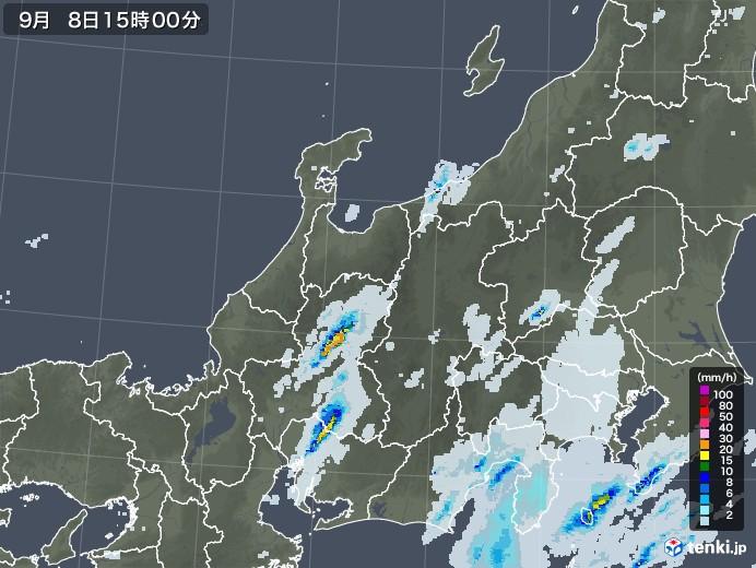 北陸地方の雨雲レーダー(2020年09月08日)