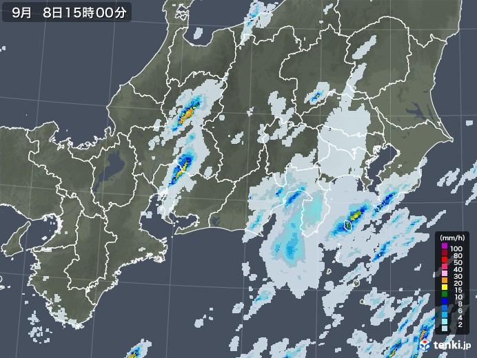 東海地方の雨雲レーダー(2020年09月08日)