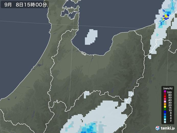富山県の雨雲レーダー(2020年09月08日)