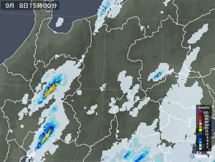 長野県の雨雲レーダー(2020年09月08日)