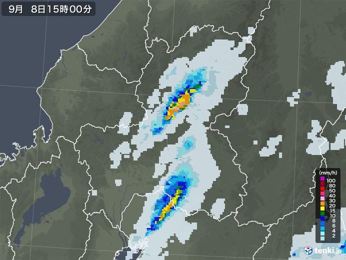 岐阜県の雨雲レーダー(2020年09月08日)