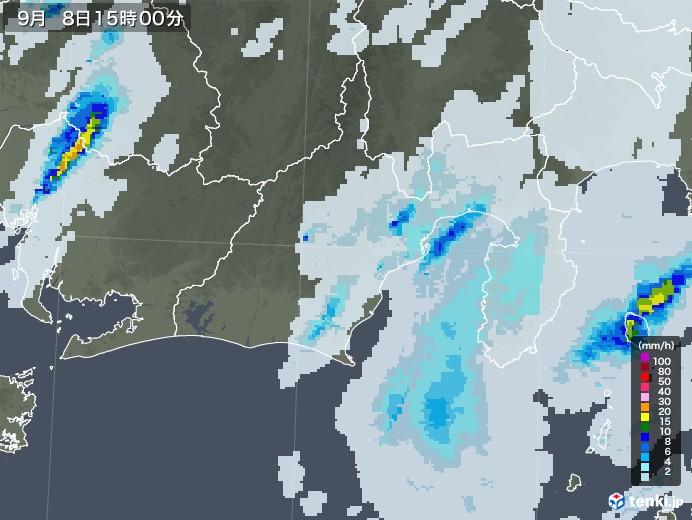 静岡県の雨雲レーダー(2020年09月08日)
