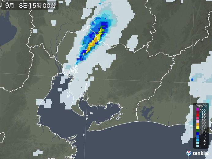 愛知県の雨雲レーダー(2020年09月08日)
