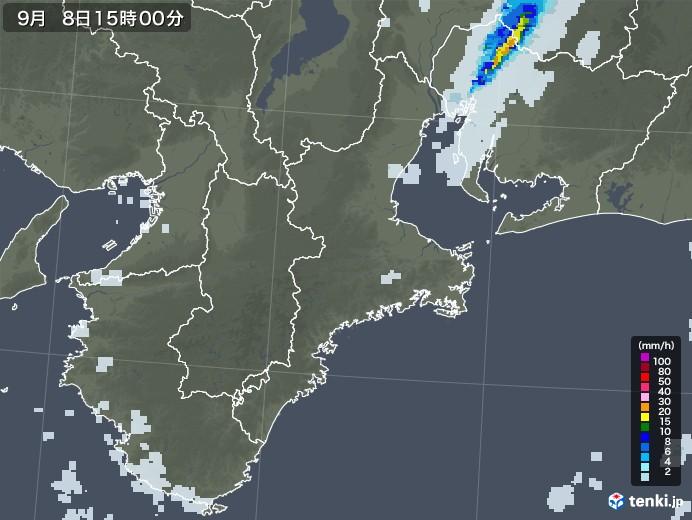 三重県の雨雲レーダー(2020年09月08日)