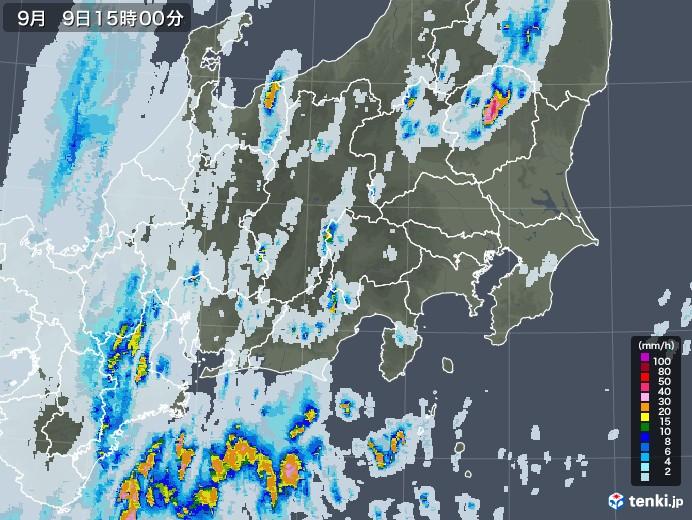 関東・甲信地方の雨雲レーダー(2020年09月09日)