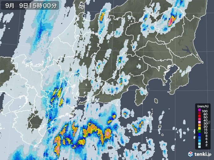 東海地方の雨雲レーダー(2020年09月09日)