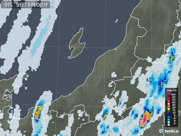新潟県の雨雲レーダー(2020年09月09日)