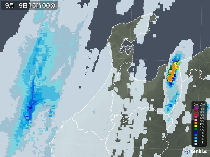 石川県の雨雲レーダー(2020年09月09日)