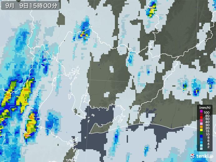 愛知県の雨雲レーダー(2020年09月09日)