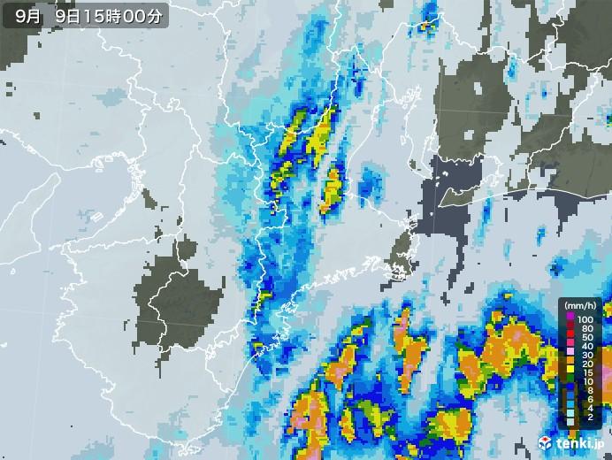 三重県の雨雲レーダー(2020年09月09日)