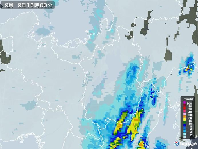 滋賀県の雨雲レーダー(2020年09月09日)