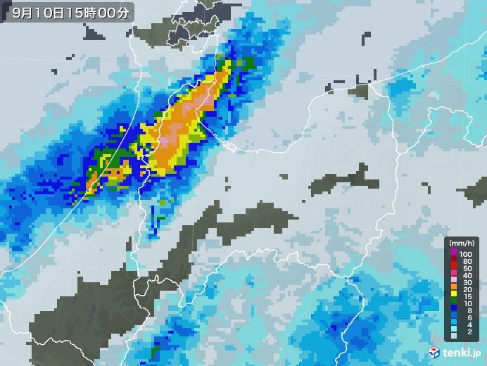 富山県の雨雲レーダー(2020年09月10日)
