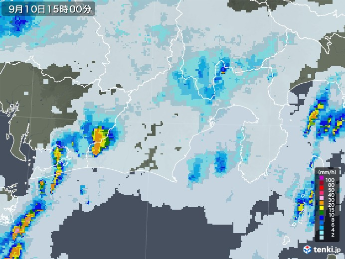 静岡県の雨雲レーダー(2020年09月10日)
