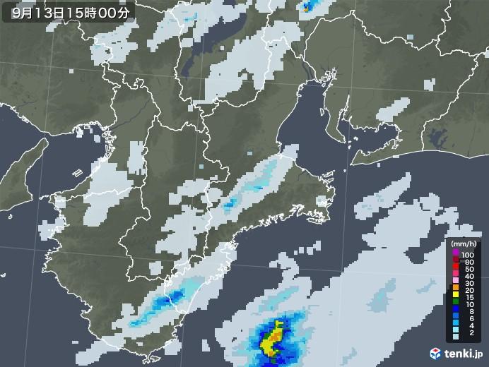 三重県の雨雲レーダー(2020年09月13日)