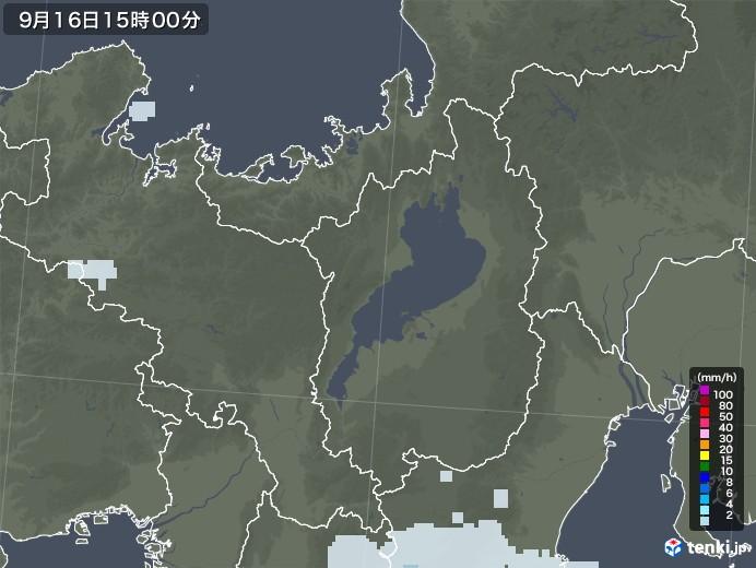 滋賀県の雨雲レーダー(2020年09月16日)