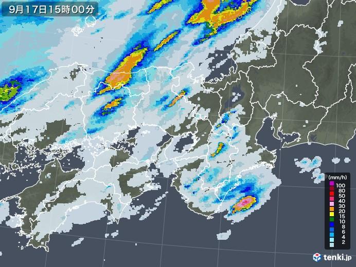 近畿地方の雨雲レーダー(2020年09月17日)