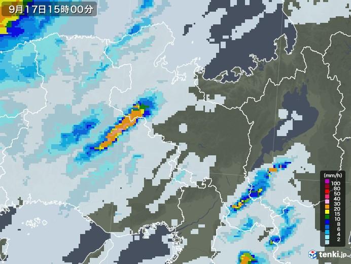 京都府の雨雲レーダー(2020年09月17日)