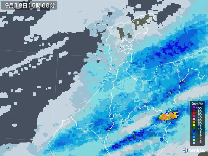 石川県の雨雲レーダー(2020年09月18日)
