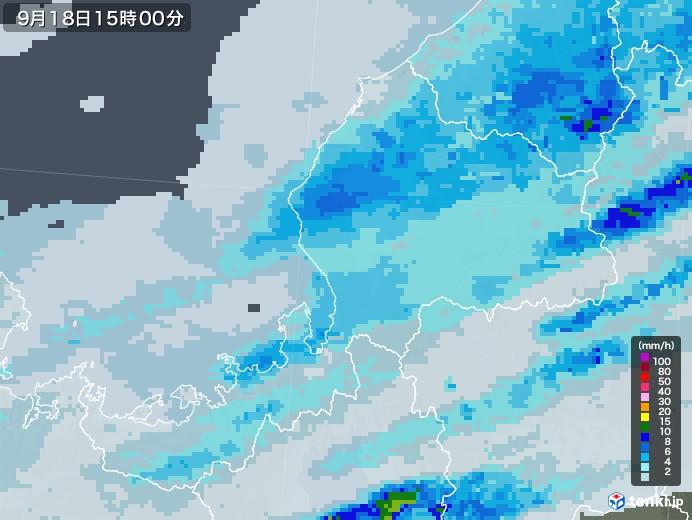 福井県の雨雲レーダー(2020年09月18日)